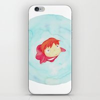 ponyo iPhone & iPod Skins featuring Ponyo Watercolor by foreverwars