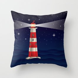 Cartoon landscape with lighthouse night sea and starry sky Throw Pillow