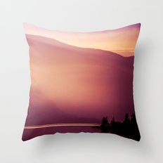 Foggy Forest Mountain at Sunset on a Lake Pacific Northwest Throw Pillow