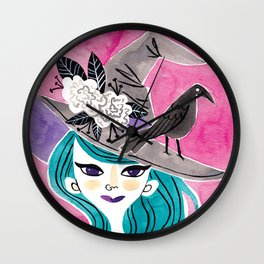 Witchy Girl Wall Clock