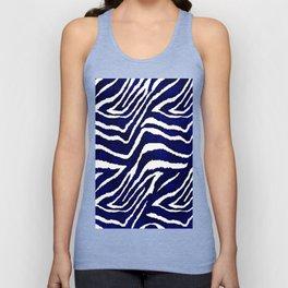 Animal Print: Zebra Blue and White Unisex Tank Top
