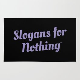 Black and Purple Slogans for Nothing Rug