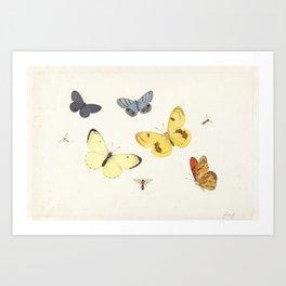 Vintage Butterfly Illustration - Yellow Art Print