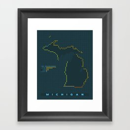 MDOT - Michigan Land & Maritime Borders Framed Art Print