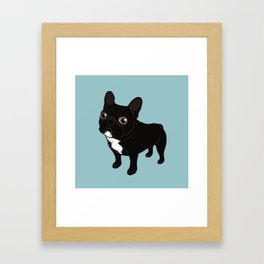 Brindle Frenchie likes to go for a walk to meet some friends Framed Art Print
