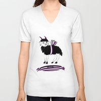 asexual V-neck T-shirts featuring Asexual Pride Goat/Sheep by plaguedcoffeebeans