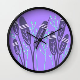 Purple and turquoise flowers LAP Wall Clock