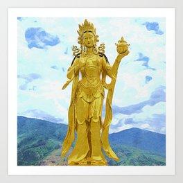 Buddha Dordenma | painting of golden statue Art Print