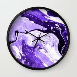 Purple and Black Marble Wall Clock