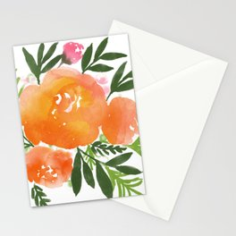 Orange Watercolor Roses Stationery Cards