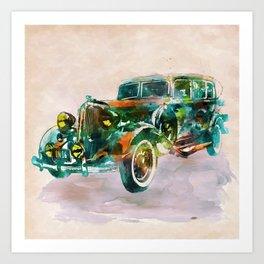 Vintage Car in watercolor Art Print