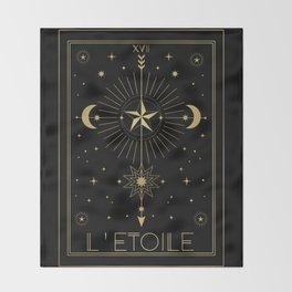 L'Etoile or The Star Tarot Gold Throw Blanket