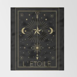 L'Etoile or The Star Tarot Gold Throw Blanket