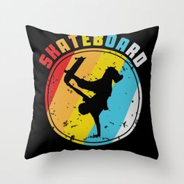 Retro Skate Skateboard Skateboarding Throw Pillow
