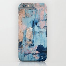 Sunbeam: a pretty abstract painting in pink, blue, and gold by Alyssa Hamilton Art iPhone Case
