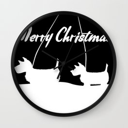 Westie White Christmas Wall Clock