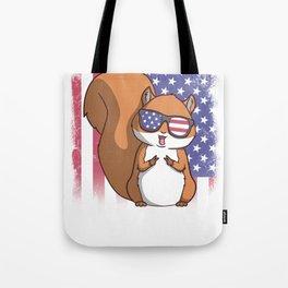 Merica Squirrel USA American Flag Tote Bag