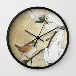 Minhwa: A Wren on the Magnolia Wall Clock