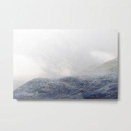 Electric Landscape I - Snowy Blue Mountains Metal Print