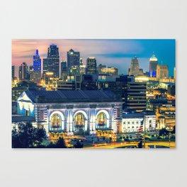 Kansas City Skyline over Union Station Canvas Print