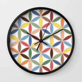 Flower of Life Retro Color Big Pattern Wall Clock
