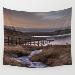 Still waters at the Derwent Reservoir at sunset Wall Tapestry