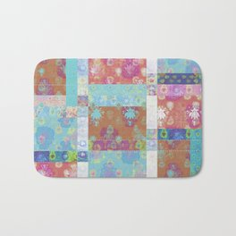 Lotus flower turquoise and apricot stitched patchwork - woodblock print style pattern Bath Mat