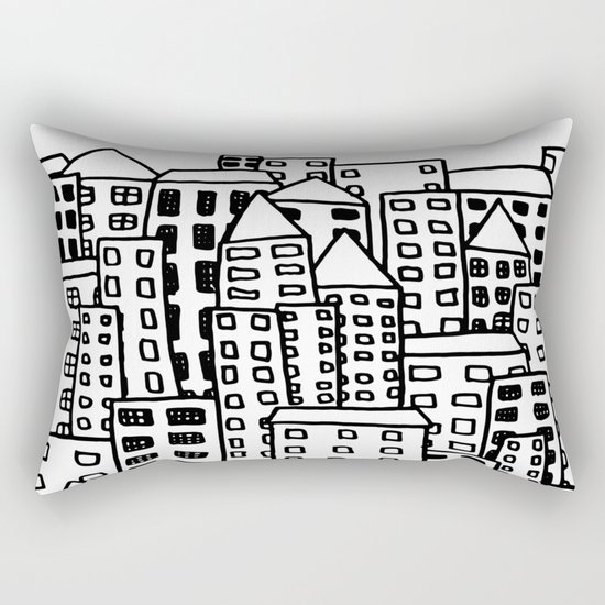 Cityscape Doodling Rectangular Pillow