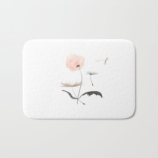 Sweet dandelions in pink - Flower watercolor illustration with glitter Bath Mat
