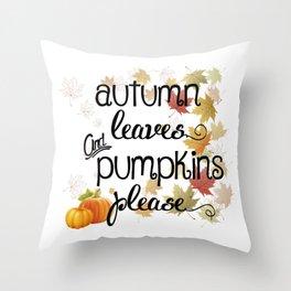 Autumn Leaves & Pumpkins Please Throw Pillow
