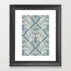 love bird lace blue Framed Art Print