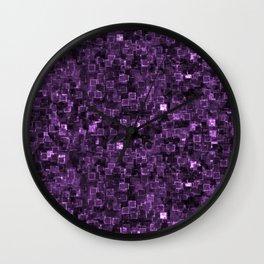 Purple Cyber Glow Neon Squares Pattern Wall Clock