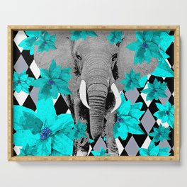 ELEPHANT and HARLEQUIN BLUE AND GRAY Serving Tray