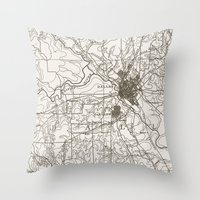 dallas Throw Pillows featuring Dallas Map by Zeke Tucker
