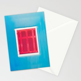 Blue Greek house with Red windows Stationery Cards