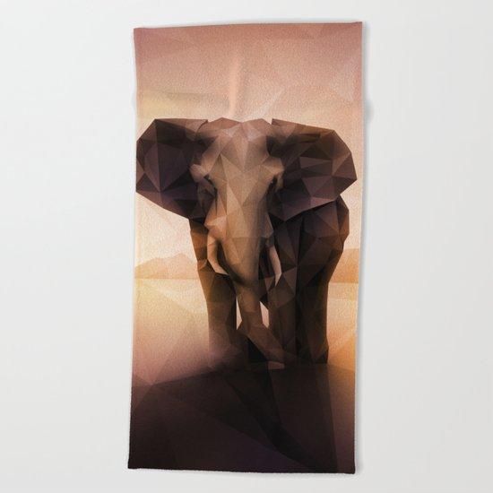 Elephant (Low Poly Peach) Beach Towel