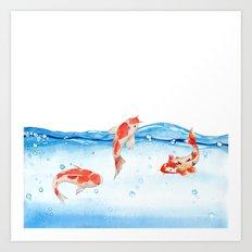Happy koi fish- fishes sea water lake Art Print