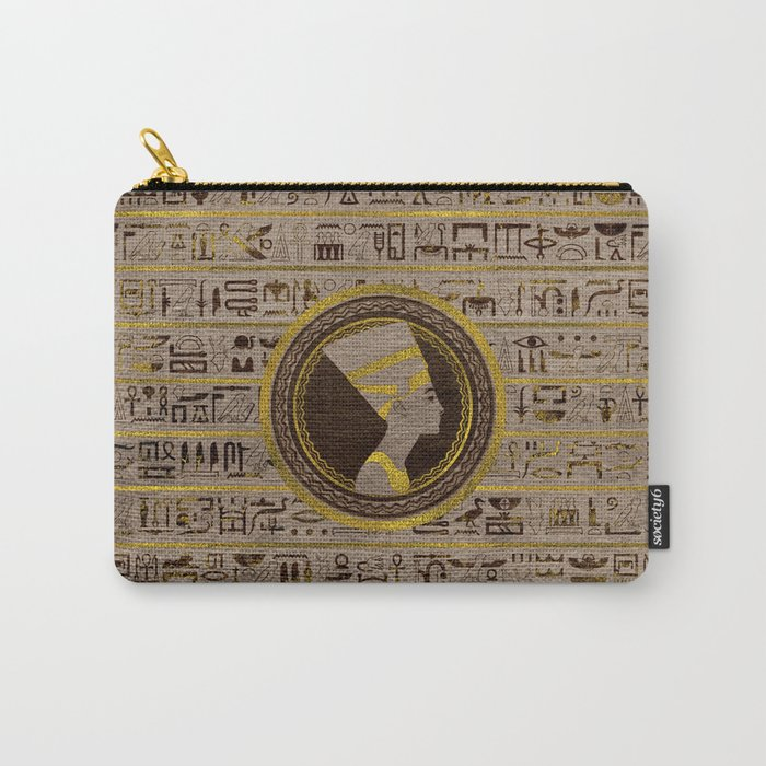 Pyrographed Golden Nefertiti On Wood Carry All Pouch By K9printart