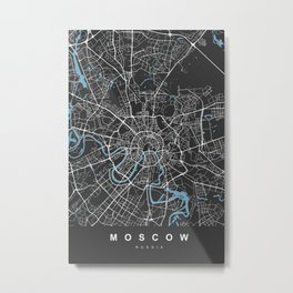 Moscow Map Russia | Black & Blue | More Colors, Review My Collections Metal Print