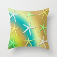 Throw Pillows featuring Lime Yellow White Falling Stars by Deluxephotos