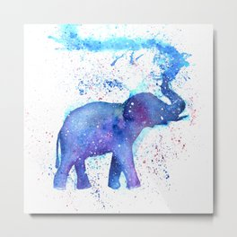 Silhouette Elephant Watercolor Metal Print