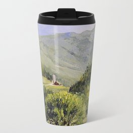 Pastures and Mount Mansfield Oil Landscape Vermont Painting Travel Mug