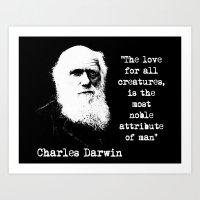 darwin Art Prints featuring Darwin by PsychoBudgie