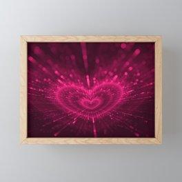 Purple Love Heart, Happy Valentine's Day Pattern Framed Mini Art Print