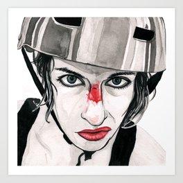 Battle Scarred Rollergirl Art Print