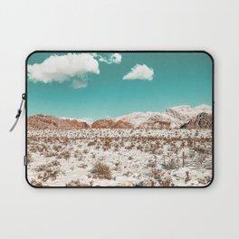 Vintage Desert Snow // Mojave Mountain Range at Red Rock Canyon in Las Vegas Landscape Photograph Laptop Sleeve