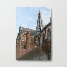 Iconic St Bavo Church in Haarlem, Noord Holland, Netherlands | Architecture fine art print | Winter Metal Print