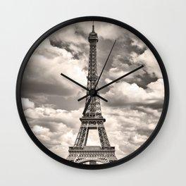 Eiffel Tower in sepia in Paris, France. Landmark in Europe Wall Clock