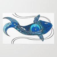 tatoo Area & Throw Rugs featuring Tatoo Koi Fish by PepperDsArt