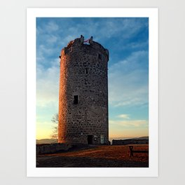 The tower of Waxenberg castle in the sunset | architectural photography Art Print